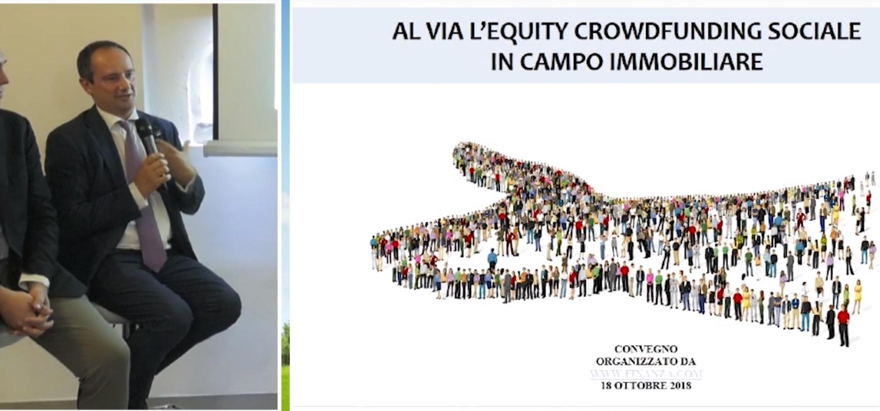 Antonio Campagnoli oratore al seminario Crowdfunding immobiliare.  Ha risposto alla domanda: cosa è e quali obiettivi può avere il corwfunding?