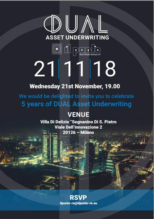 Festa per i 5 anni di attività di DUAL Asset Underwriting e  IL PUNTO Real Estate Advisor/CORFAC International